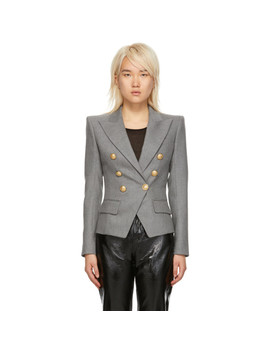 Grey Wool Six Button Blazer by Balmain