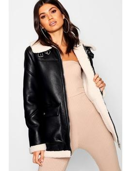 Borg Collar Flying Jacket Borg Collar Flying Jacket by Boohoo