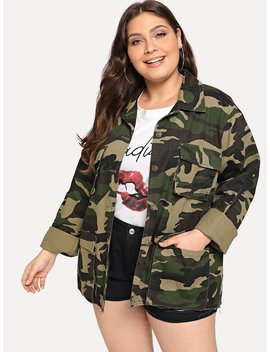 Plus Pocket Patched Camo Print Jacket by Shein