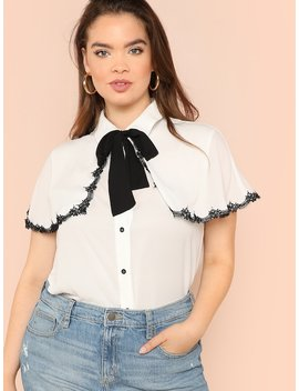 Plus Contrast Lace Trim Tied Neck Shirt by Shein