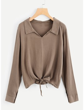 Plus Collar Front Knot Blouse by Sheinside