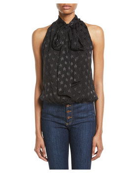 Delphine Star Tie Neck Gathered Top by Alice + Olivia