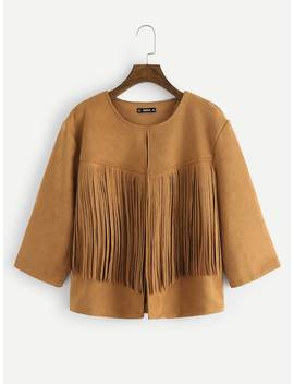 Plus Fringe Patched Open Front Suede Coat by Shein