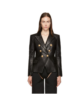 Black Six Button Leather Blazer by Balmain