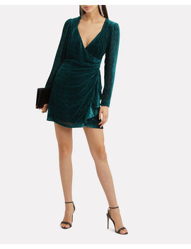 Brooke Velvet Burnout Wrap Effect Mini Dress by Intermix
