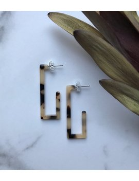 Rectangle Classic Blonde Tortoise Shell Acetate Hoop Boho Minimalist Earrings by Etsy