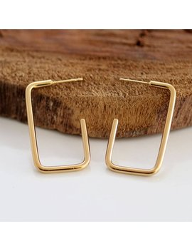 Gold Stud Earring , Rectangle Earrings,  Open Hoop,  Gold Plated Nickel Free, Rectangle Square, Geometric Earrings by Etsy