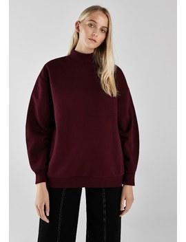 Mit Geripptem Stehkragen    Sweatshirt by Bershka