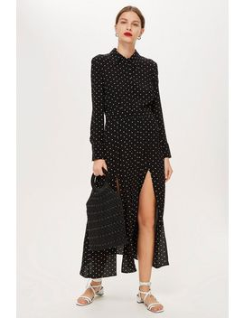 Tall Spot Pleated Shirt Dress by Topshop