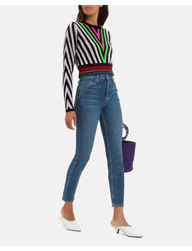 Lurex Hem Chevron Sweater by Diane Von Furstenberg