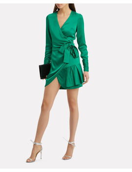 Komosa Emerald Wrap Mini Dress by Alexis