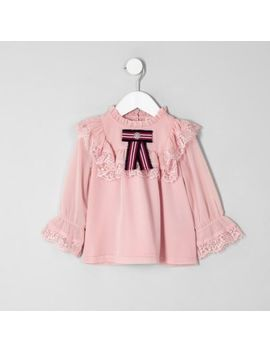 Mini Girls Pink Lace Frill Swing Top by River Island