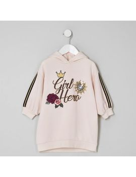 Mini Girls Pink 'Girl Hero' Hoodie Dress by River Island