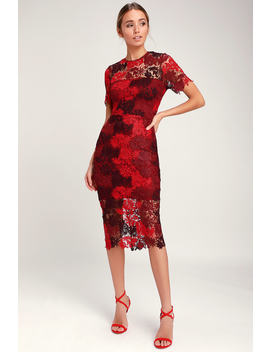 Season Of Joy Red Multi Lace Midi Dress by Lulus