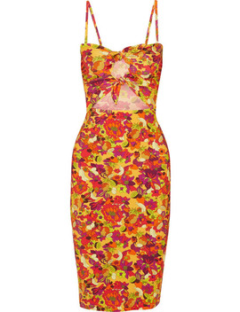 Printed Cutout Stretch Crepe Dress by Adriana Degreas