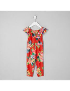 Mini Girls Red Tropical Print Playsuit by River Island