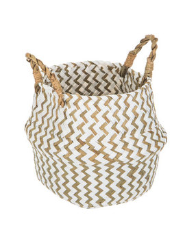 White & Natural Chevron Basket by Hobby Lobby