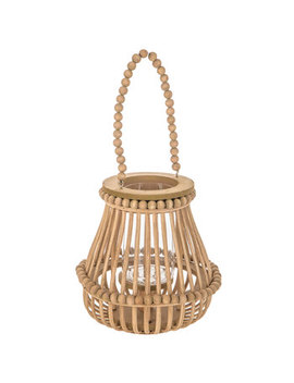 Brown Wood Lantern With Beaded Handle by Hobby Lobby