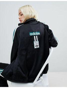 Adidas Original Three Stripe Track Jacket With Vintage Logo In Black by Adidas