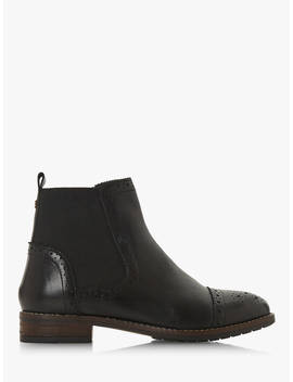 Dune Queston Wide Fit Chelsea Boots, Black Leather by Dune