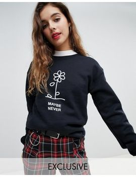 Adolescent Clothing Oversized Sweatshirt With Maybe Never Print by Adolescent Clothing