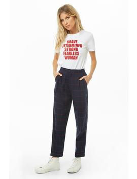 High Rise Grid Print Pants by Forever 21