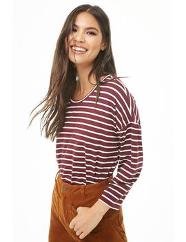 Striped Drop Shoulder Top by Forever 21