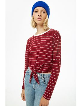 Pinstriped Tie Front Top by Forever 21