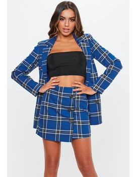 Blue Check Button Mini Skirt by Missguided