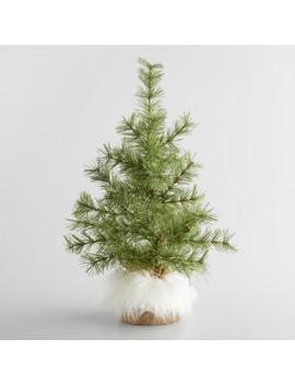 Glittered Faux Tree With Burlap And Fur Base by World Market