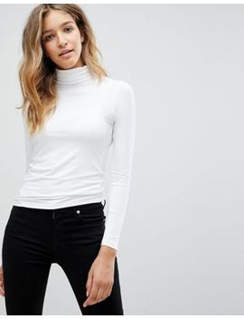 Asos Design   Top Met Polo Halslijn En Lange Mouwen In Wit by Asos