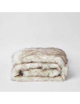 Cream Faux Fur Throw With Pink Paisley Back by River Island