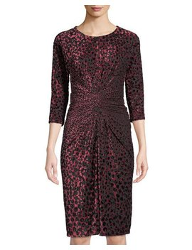 Animal Print Ruched Burnout Dress by Neiman Marcus