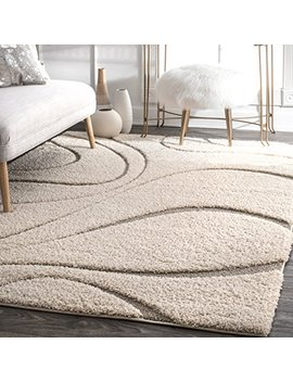 Nu Loom Ozsg08 A Soft And Plush Shaggy Curves Caroyln Shag Rug, 7 X 10', Cream by Nu Loom