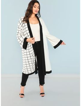 Plus Contrast Trim Grid Duster Coat by Shein