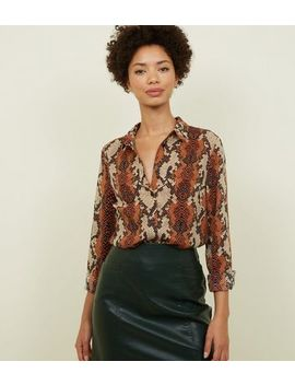 Brown Snake Print Shirt by New Look