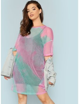 Plus Drop Shoulder Tie Dye Sheer Dress Without Lingerie Set by Shein