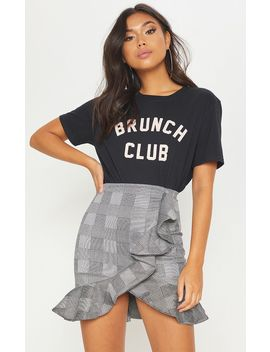 Black Check Frill Detail Mini Skirt by Prettylittlething