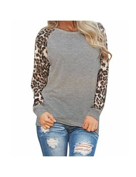 Dzt1968 Womens Leopard Blouse Long Sleeve Fashion Ladies T Shirt Oversize Tops by Dzt1968