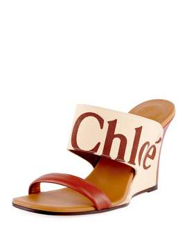 Verena Logo Wedge Slide Sandals by Chloe