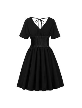 Vintage Gothic Elegant Black Office Lady Women Dresses Aline Zipper Plain Patchwork Female Fashion Casual Preppy Style Dress by Rosetic