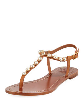 Emmy Pearly Beaded Flat Sandals by Tory Burch