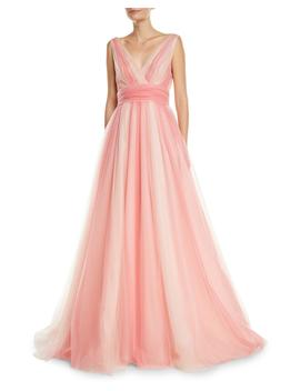 V Neck Belted Ombre Tulle A Line Gown by Carolina Herrera