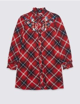 Pure Cotton Checked Shirt Dress (3 16 Years) by Marks & Spencer