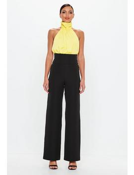 Peace + Love Black High Waisted Seam Detail Trousers by Missguided