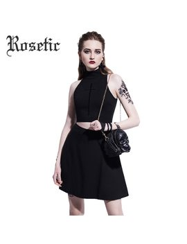 Rosetic Gothic Casual Mini Dress Black Cross Embroidery Women Summer Sleeveless Sexy Slim Travel Girl Short Harajuku Goth Dress by Rosetic