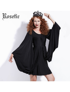 Rosetic Gothic Casual Dress Black Women Batwing Sleeve Spring Vintage Dress Party Fashion Retro Street Sexy Victorian Goth Dress by Rosetic