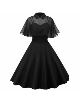 Women Vintage Gothic Cape Dress Autumn Two Piece Sheer Mesh Cape Patchwork Pleated Peter Pan Collar Elegant Retro Goth Dresses by Rosetic