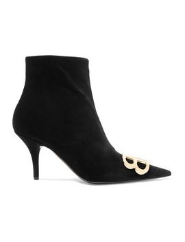 Knife Logo Embellished Velvet Ankle Boots by Balenciaga