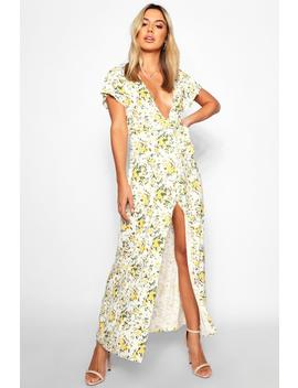 Petite Poppy Belted Plunge Maxi Dress by Boohoo